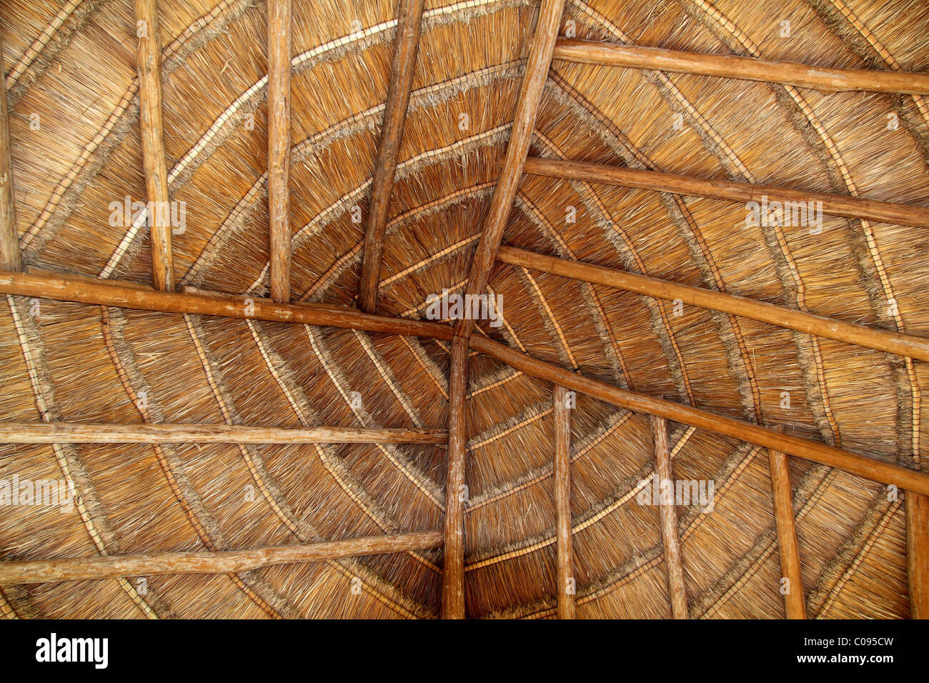 palapa tropical Mexico wood cabin roof detail indoor - Stock Image