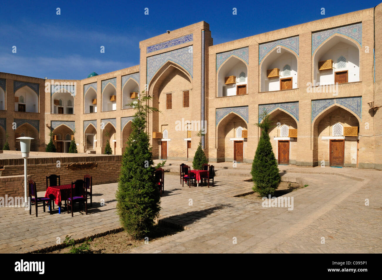 Courtyard of Muhammad Aminkhan Madrassah, Hotel Khiva, Chiva, Ichan Kala, Silk Road, Unesco World Heritage Site, - Stock Image