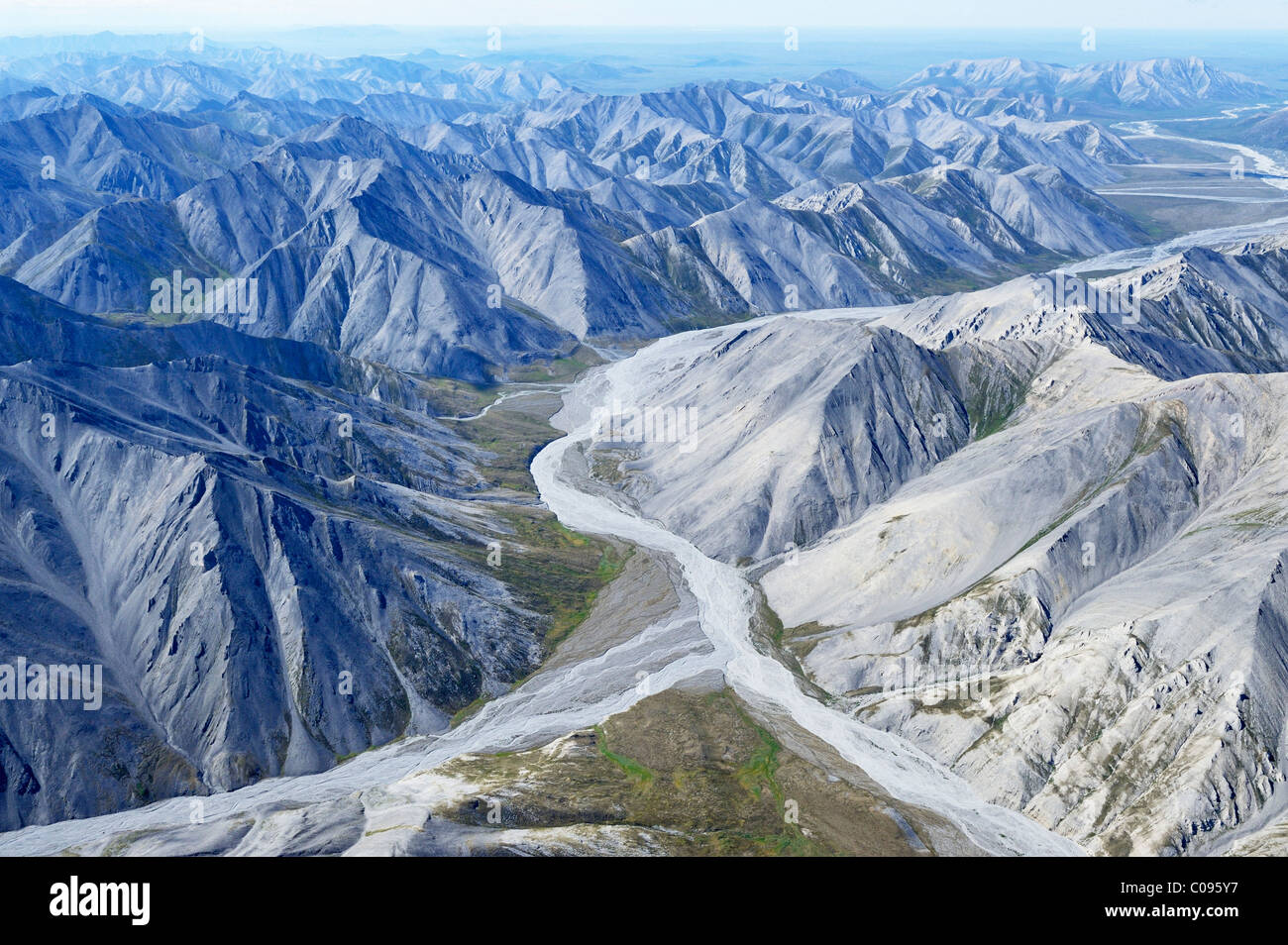 Aerial of the rugged Philip Smith Mountains portion of the Brooks Range in ANWR, Arctic Alaska, Summer, HDR - Stock Image