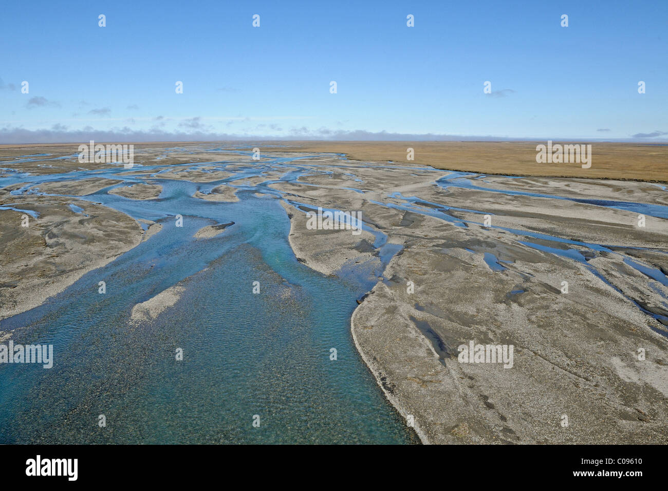 View of the Hulahula River flowing through the Arctic Coastal Plain in ANWR, Arctic Alaska, Summer - Stock Image