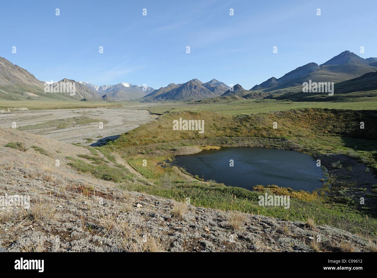 View of the Hulahula River near its source in the Brooks Range, ANWR, Arctic Alaska, Summer - Stock Image