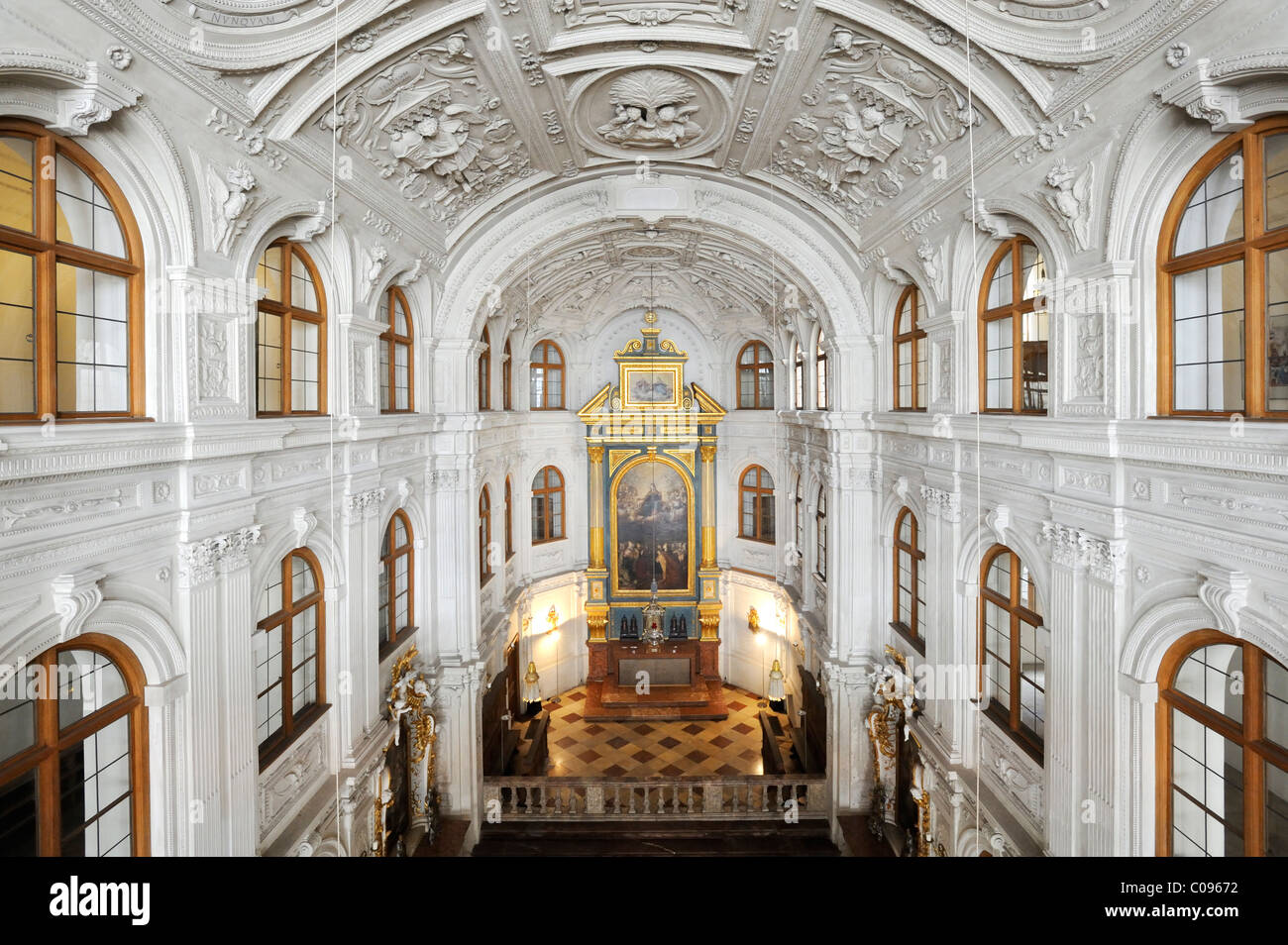 Court chapel, Munich Residence, home of the Wittelsbach regents until 1918, Munich, Bavaria, Germany, Europe - Stock Image