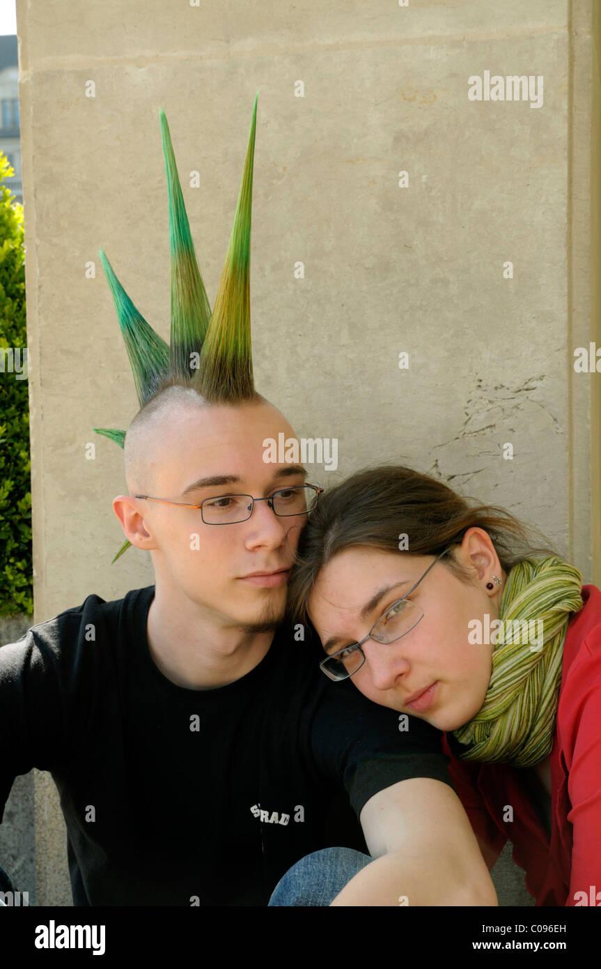 Young couple, Wave Gothic Treffen music festival, Leipzig, Saxony, Germany, Europe - Stock Image