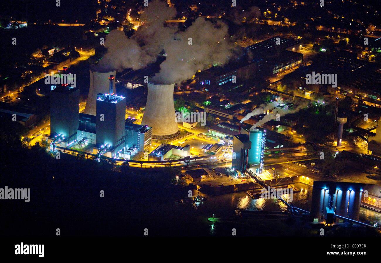 Aerial view, Logport Logistic Center at night, Duisport, Duisburg harbour, Duisburg, Ruhr area, North Rhine-Westphalia - Stock Image