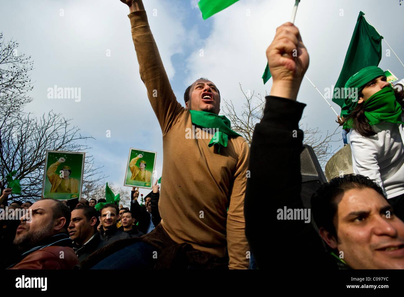 Pro Gaddafi demonstration, London February 2011 - Stock Image
