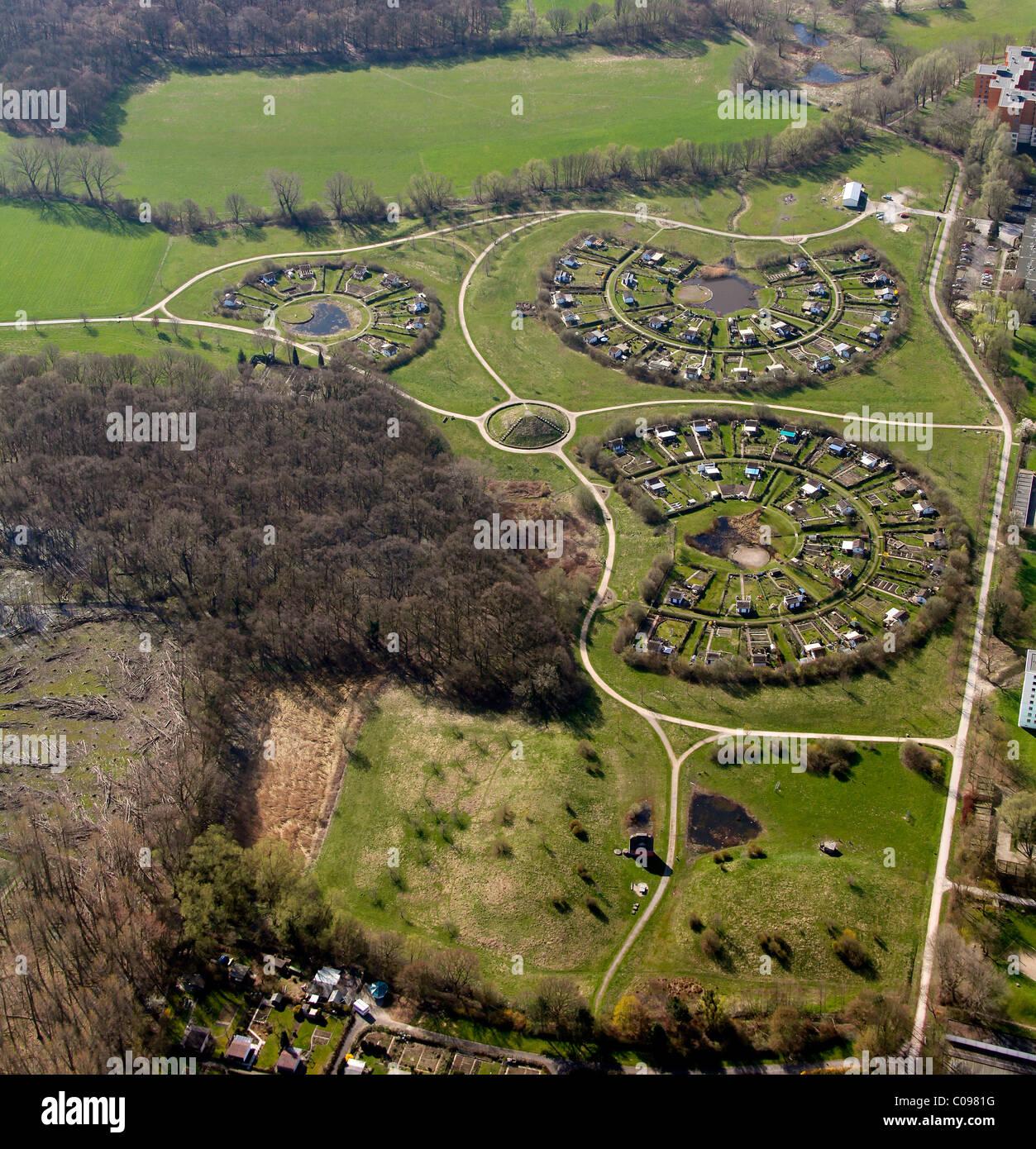 Aerial view, allot settlements, Scharnhorst Grevel district, Werzenkamp street, Dortmund, Ruhr area, North Rhine - Stock Image