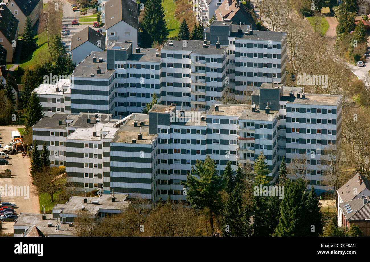Aerial view, apartment buildings, social housing, Ennepetal, Ruhr area, North Rhine-Westphalia, Germany, Europe - Stock Image