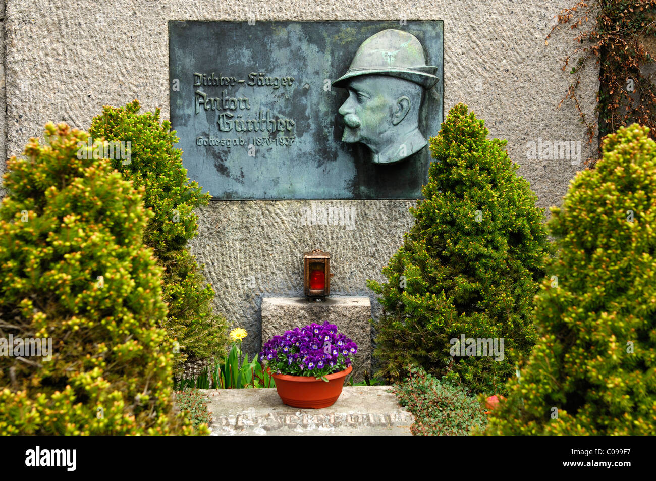 Grave site of the Erzgebirge poet and singer Anton Guenther, Gottesgab, Bozi Dar, Czech Republic, Europe - Stock Image
