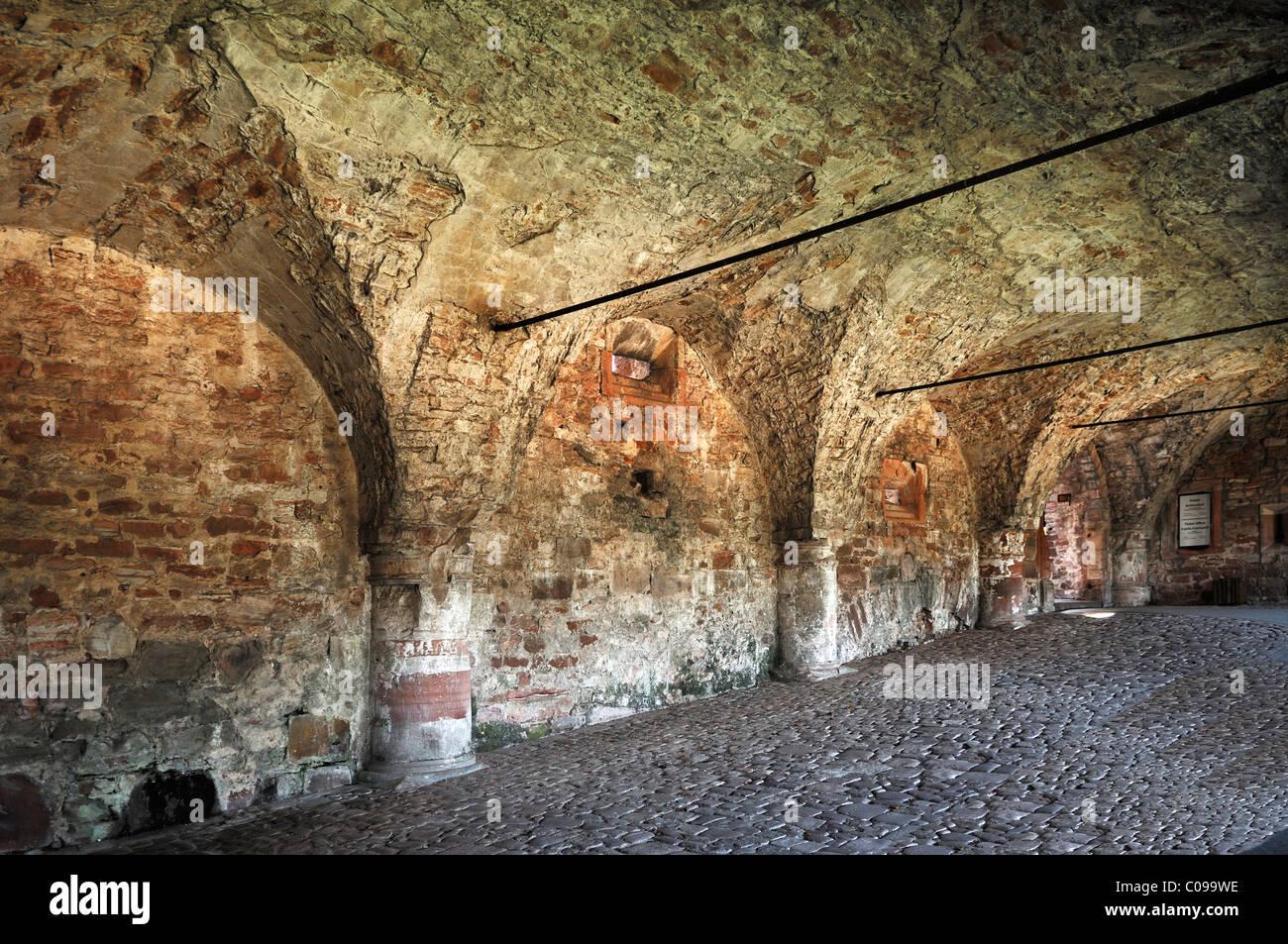 Vaults in the stairway to the castle ruins, Schlosshof, Heidelberg, Baden-Wuerttemberg, Germany, Europe Stock Photo