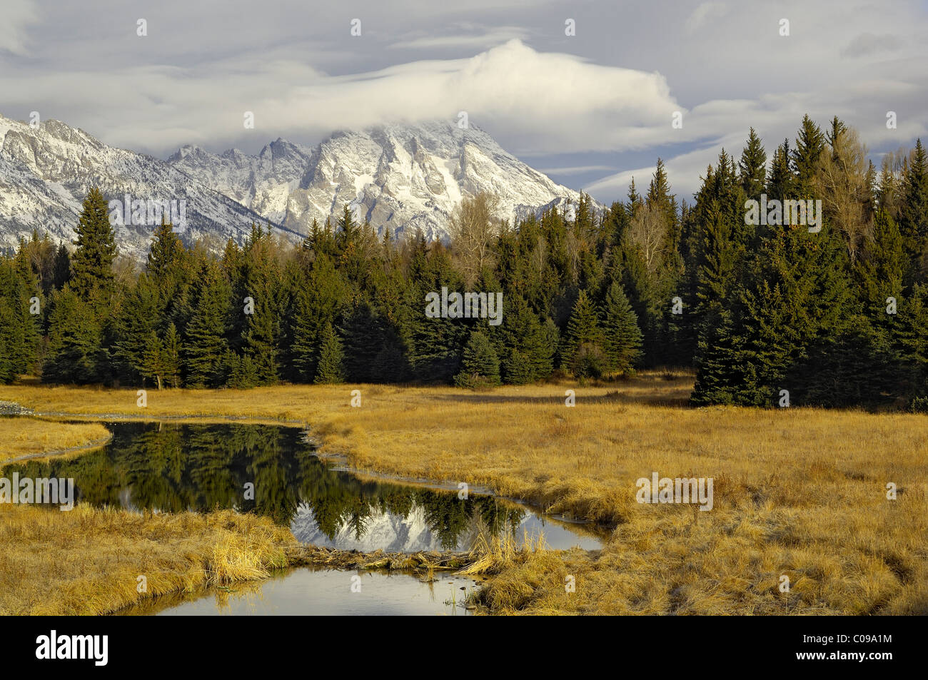 Morning reflection in the Rocky Mountains - Stock Image