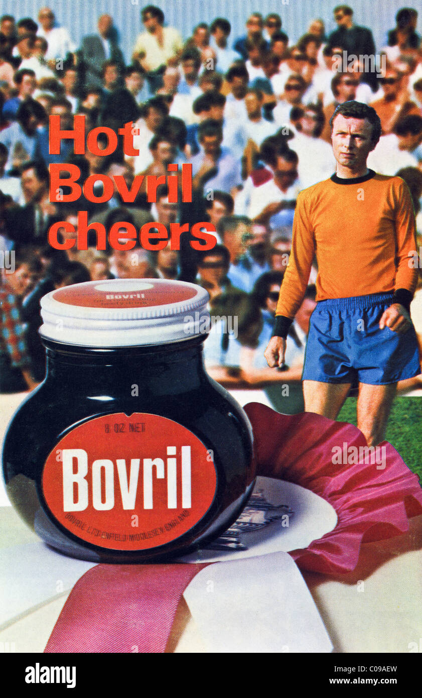 Original 1970s full page advertisement in football programme for BOVRIL beef drink - Stock Image