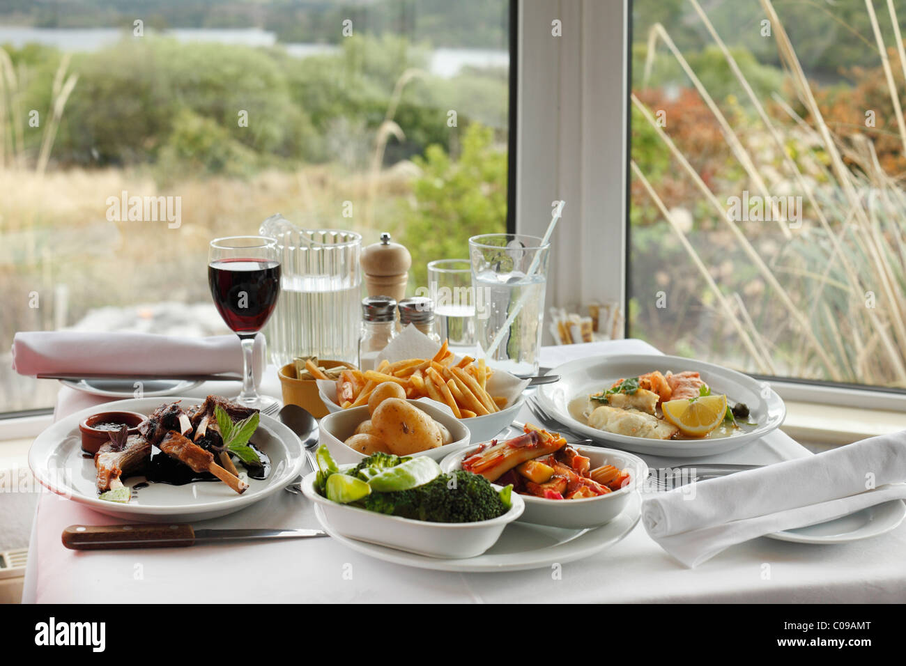 Dinner with lamb chops and red wine, Josie's Lakeview House, Beara Peninsula, County Kerry, Ireland, British - Stock Image