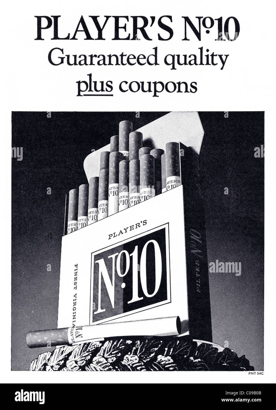 Original 1970s full page advertisement in football programme for PLAYERS No10 filter tipped cigarettes - Stock Image