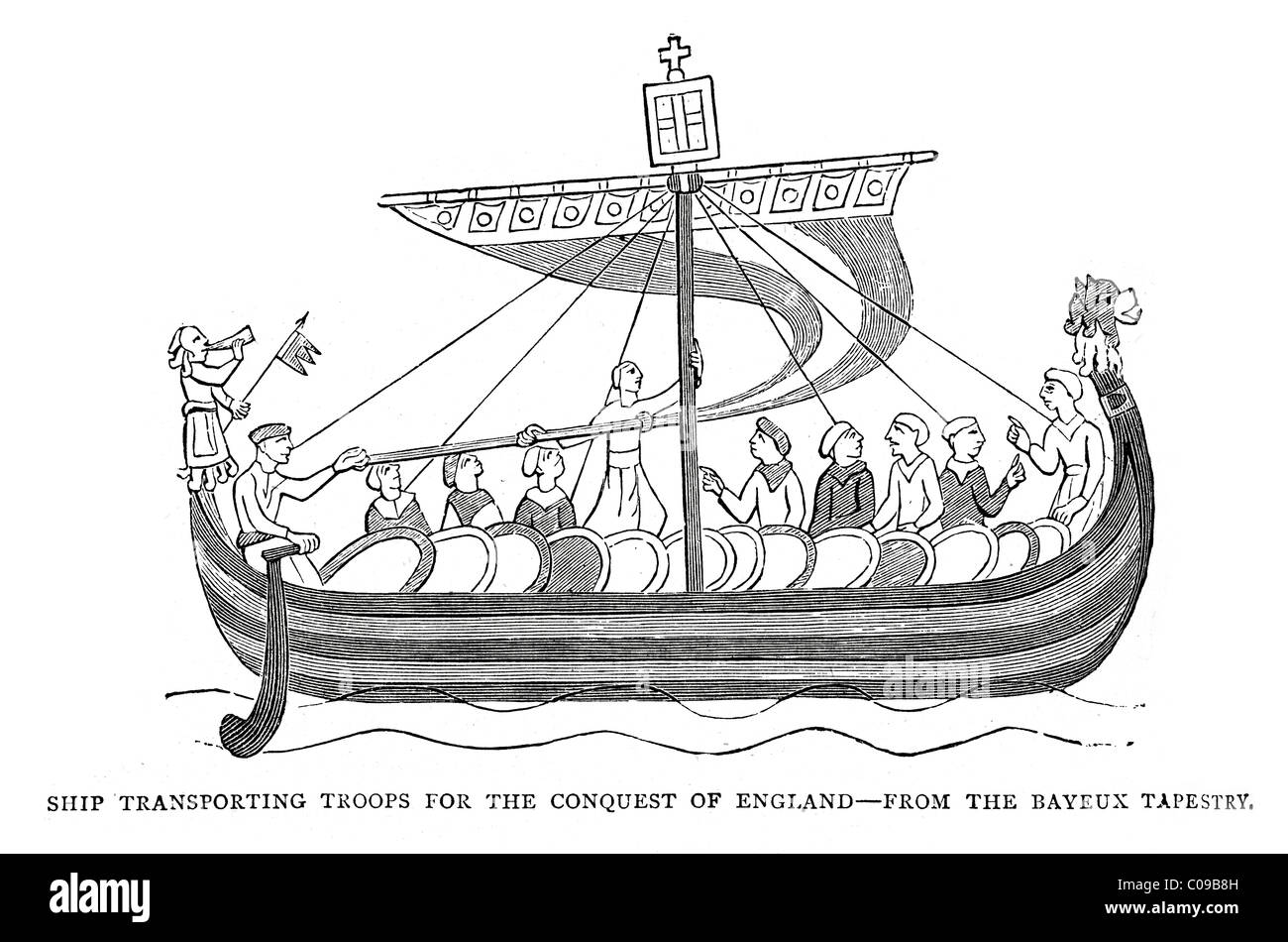 Vintage engraving of a ship transporting troops for the conquest of england, from the Bayeux Tapestry - Stock Image