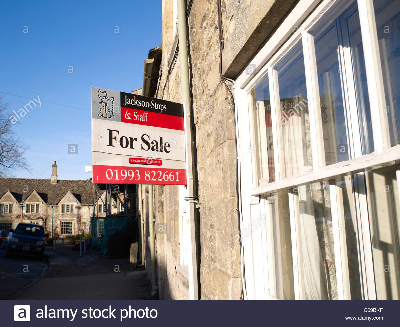 House for sale sign in Burford,Oxfordshire - Stock Image