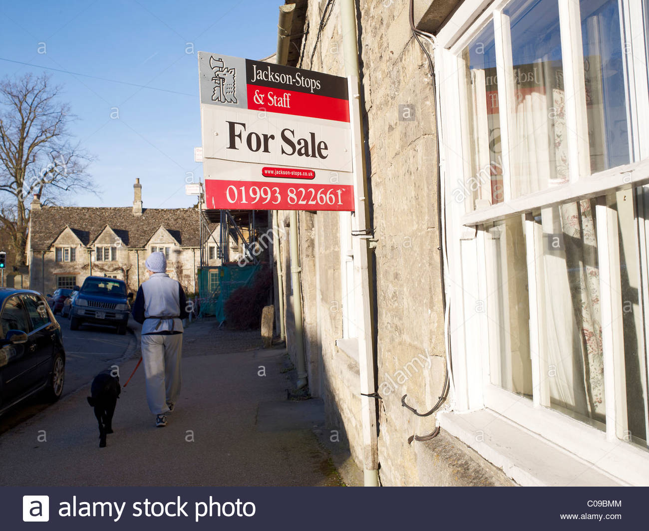 House for sale sign in Burford,Oxfordshire Stock Photo