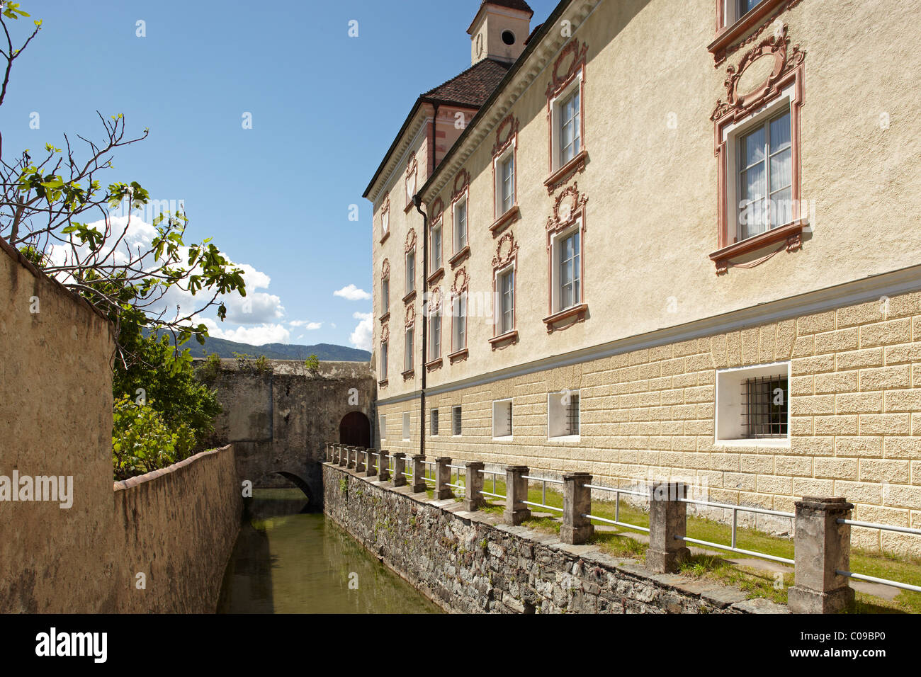 Hofburg Imperial palace and moat, Brixen, South Tyrol, Italy, Europe - Stock Image