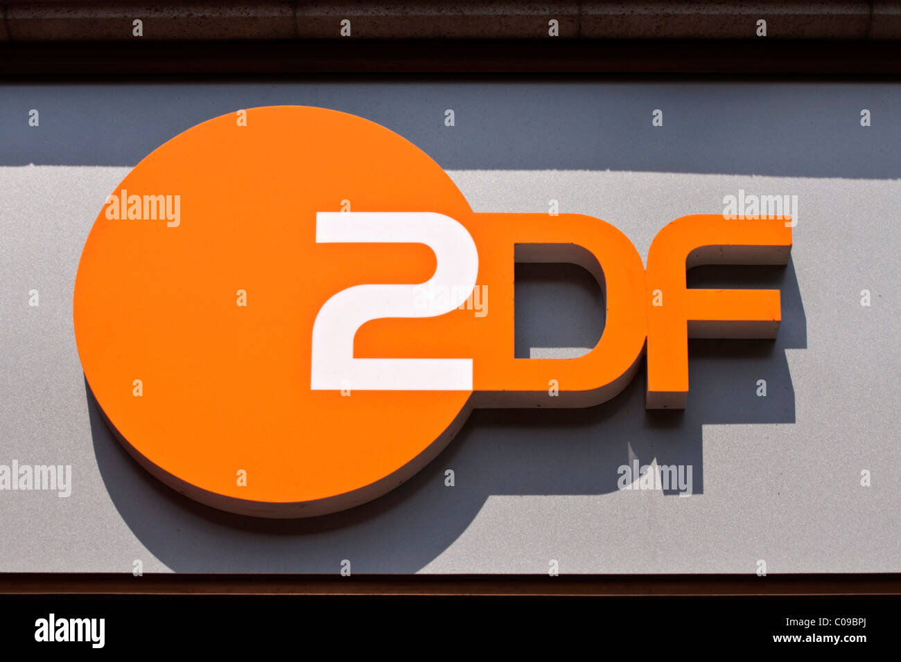 Sign of the public-service German television channel ZDF in Berlin, Germany - Stock Image
