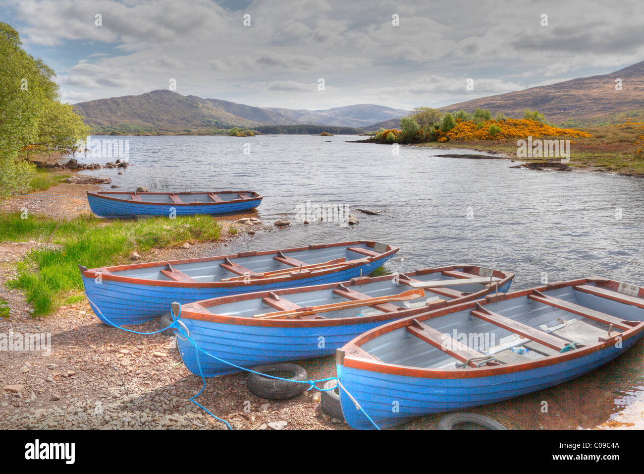 Barges, Cloonee Lakes, Cloonee Loughs, Beara Peninsula, County Kerry, Ireland, British Isles, Europe - Stock Image