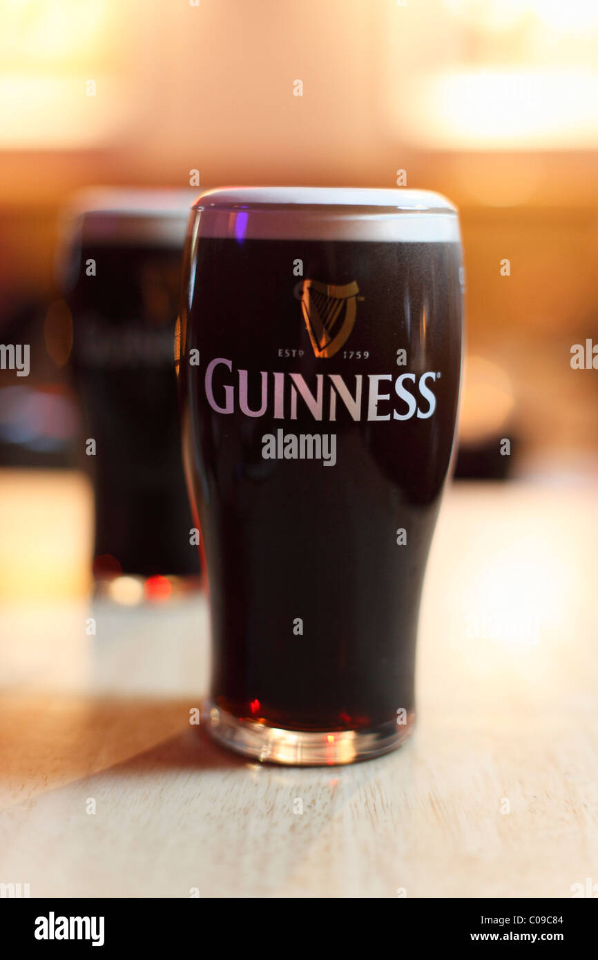 Pint of Guinness Stout beer, Ireland, British Isles, Europe - Stock Image