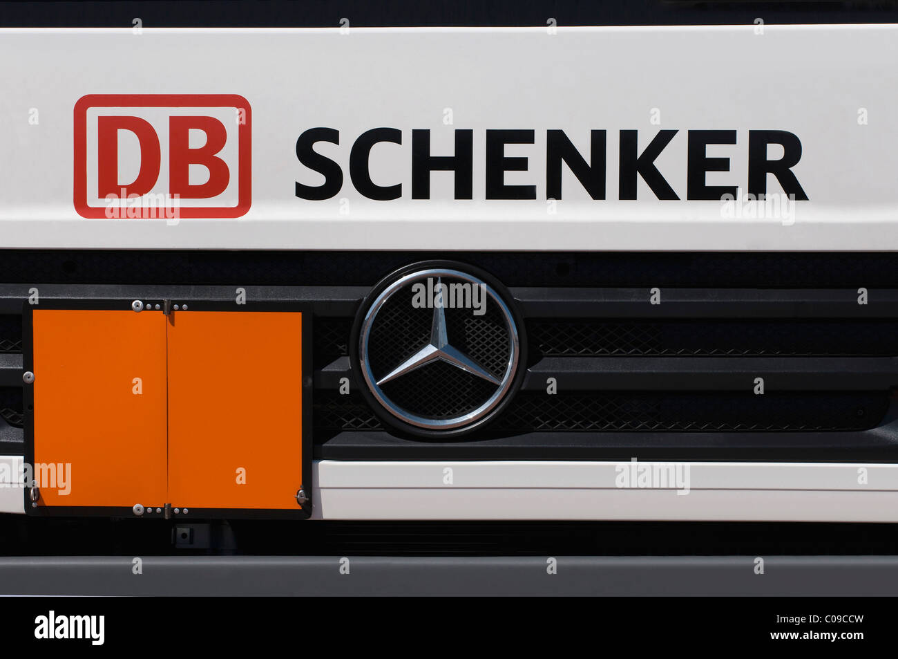 Grille of a Mercedes Benz truck by DB Schenker with a closed warning sign, transportation and logistics, Logo Deutsche - Stock Image