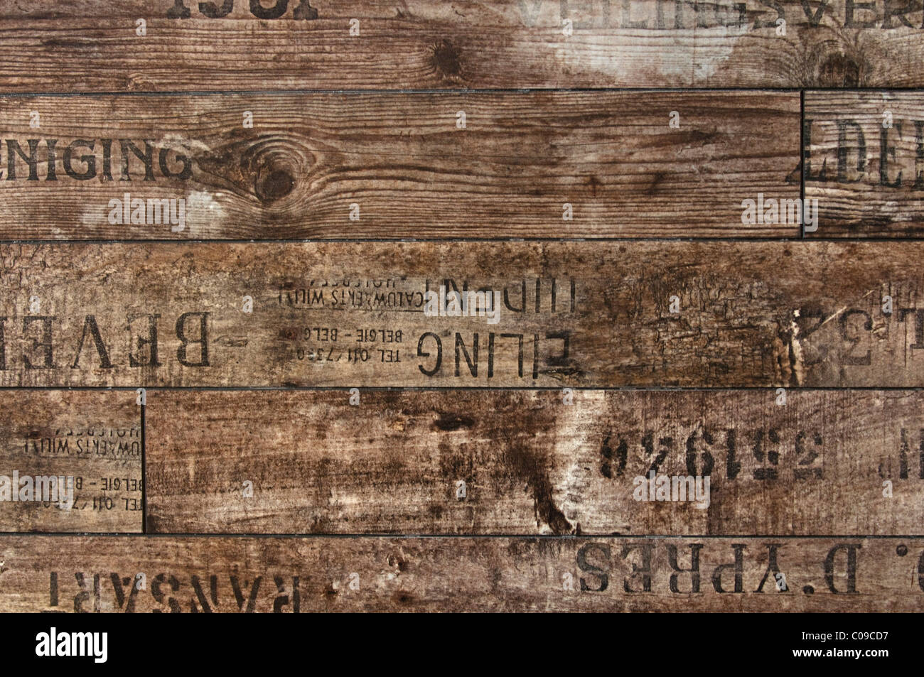 Wooden planks with stamp printing, background - Stock Image