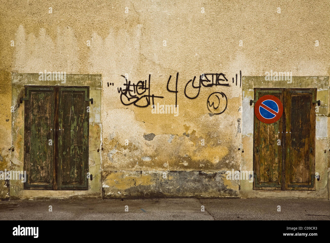 Abstract image of doors and graffiti in Nyon, Switzerland - Stock Image