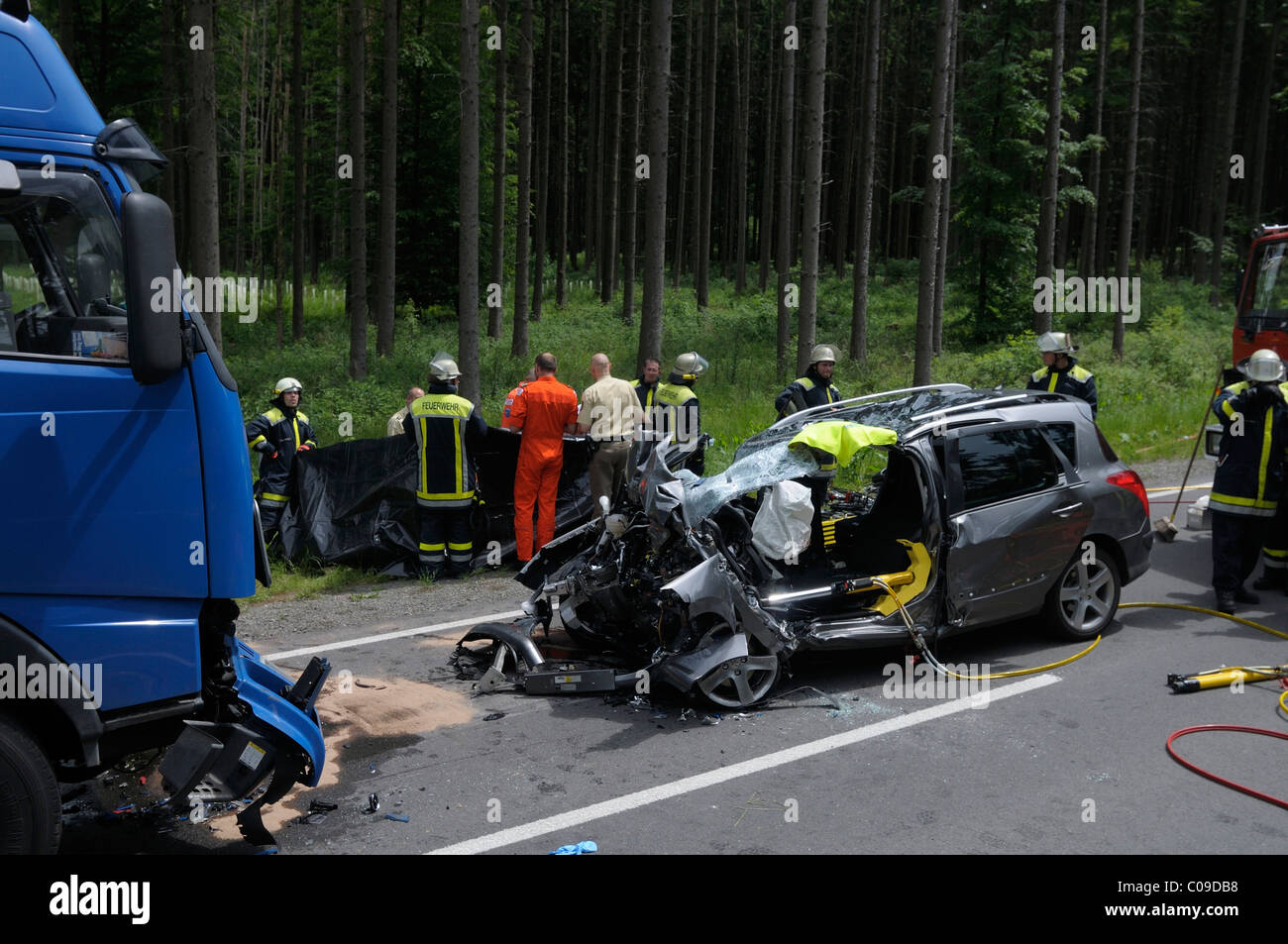 Fatal car accident, collision of a car and a truck, Rutesheim Stock