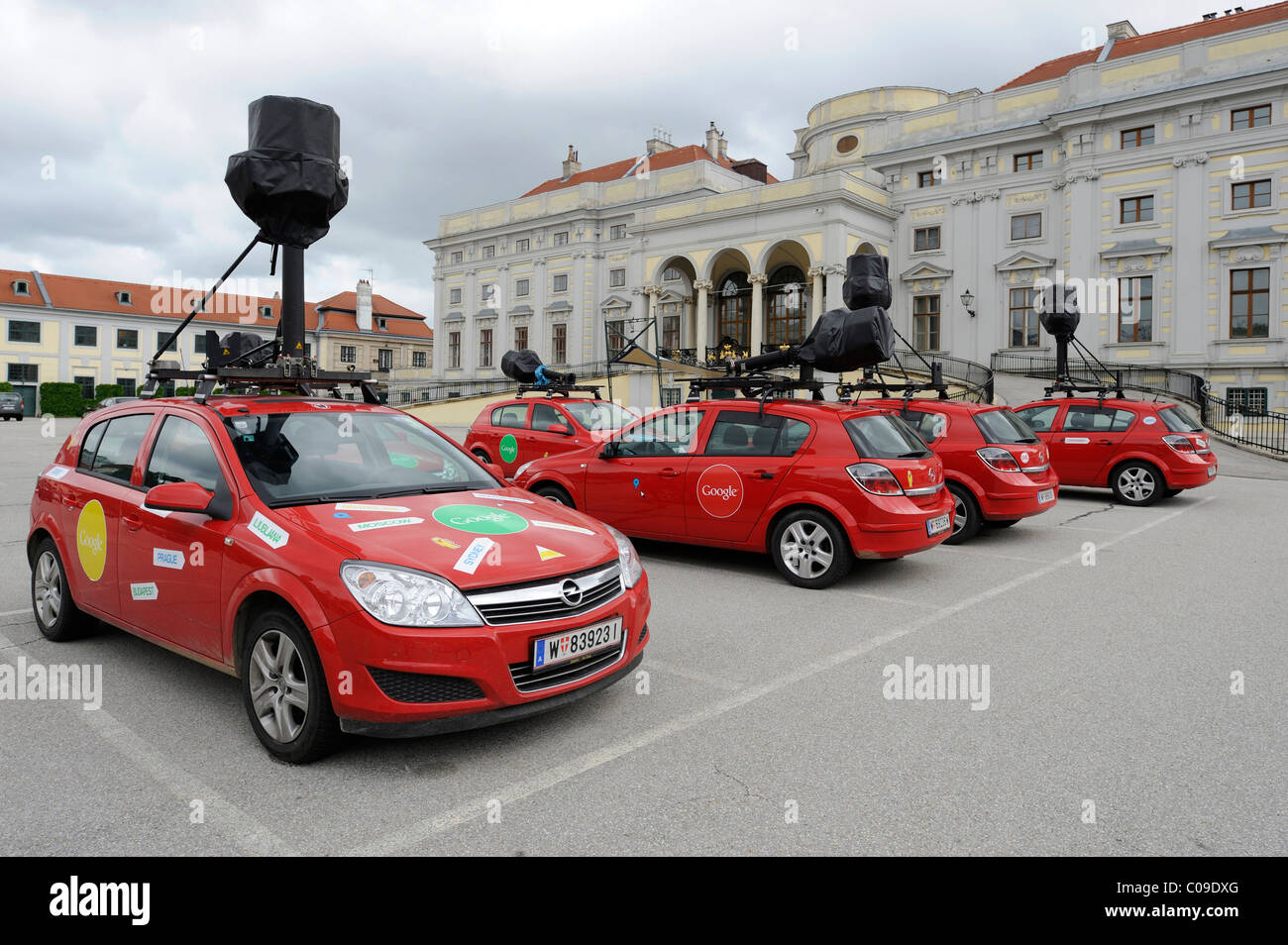 Google Street View vehicles with special cameras on standby at a parking site in Vienna, Austria, Europe - Stock Image