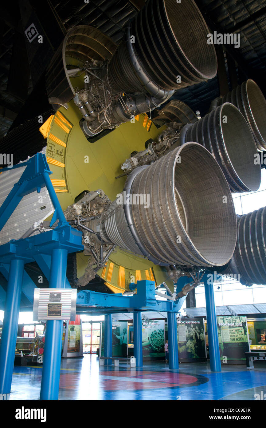 Saturn V at the Davidson Center for Space Exploration building at the U.S. Space and Rocket Center in Huntsville, - Stock Image