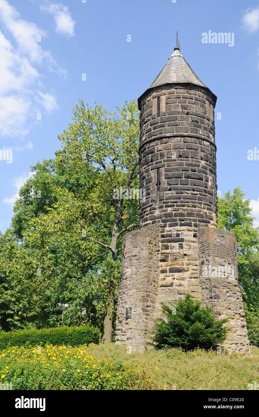 Steinerner Turm stone tower from 1254 at the Westfalenhallen, monument, Dortmund, Ruhrgebiet region, North Rhine - Stock Image