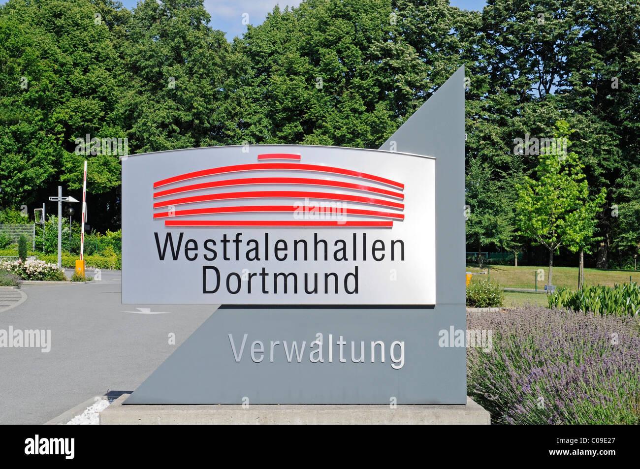 Westfalenhallen venue, logo, administrative buildings, Dortmund, Ruhrgebiet region, North Rhine-Westphalia, Germany, - Stock Image