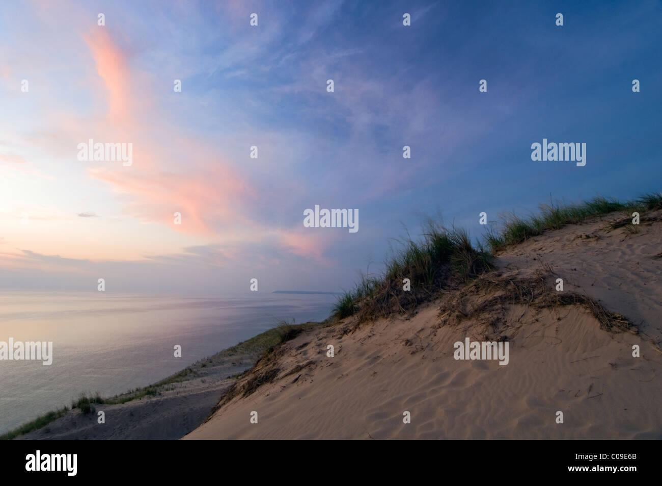 Sunset over Lake Michigan at Sleeping Bear Dunes National Lakeshore, Michigan - Stock Image
