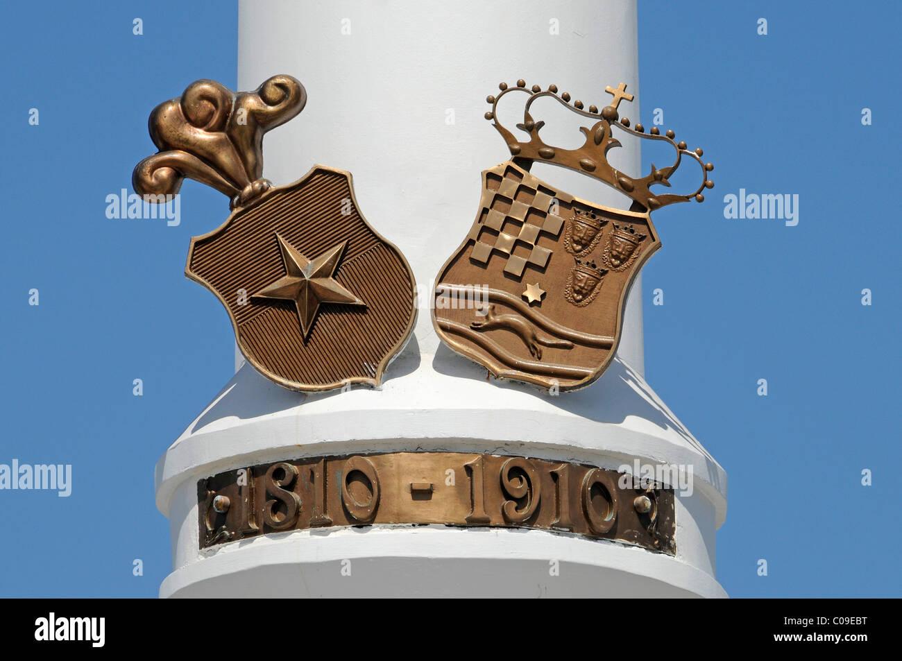 Crests, memorial, Croatian, Slavic square, waterside promenade, Croatia, Iquique, Norte Grande, northern Chile, Stock Photo