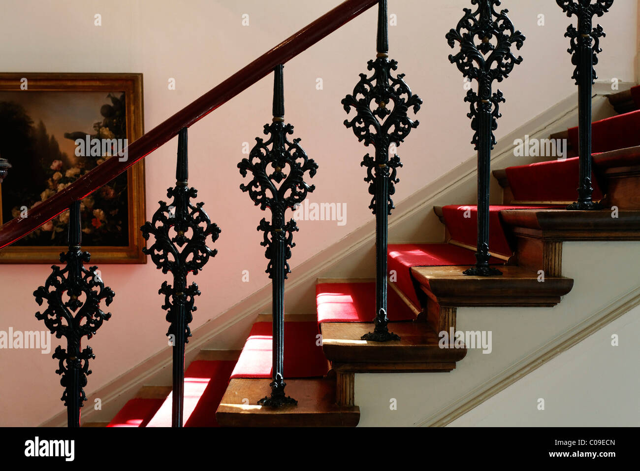 Staircase with decorative cast iron railings from the 19th century, Koekkoek-Haus museum, Kleve, Niederrhein region - Stock Image