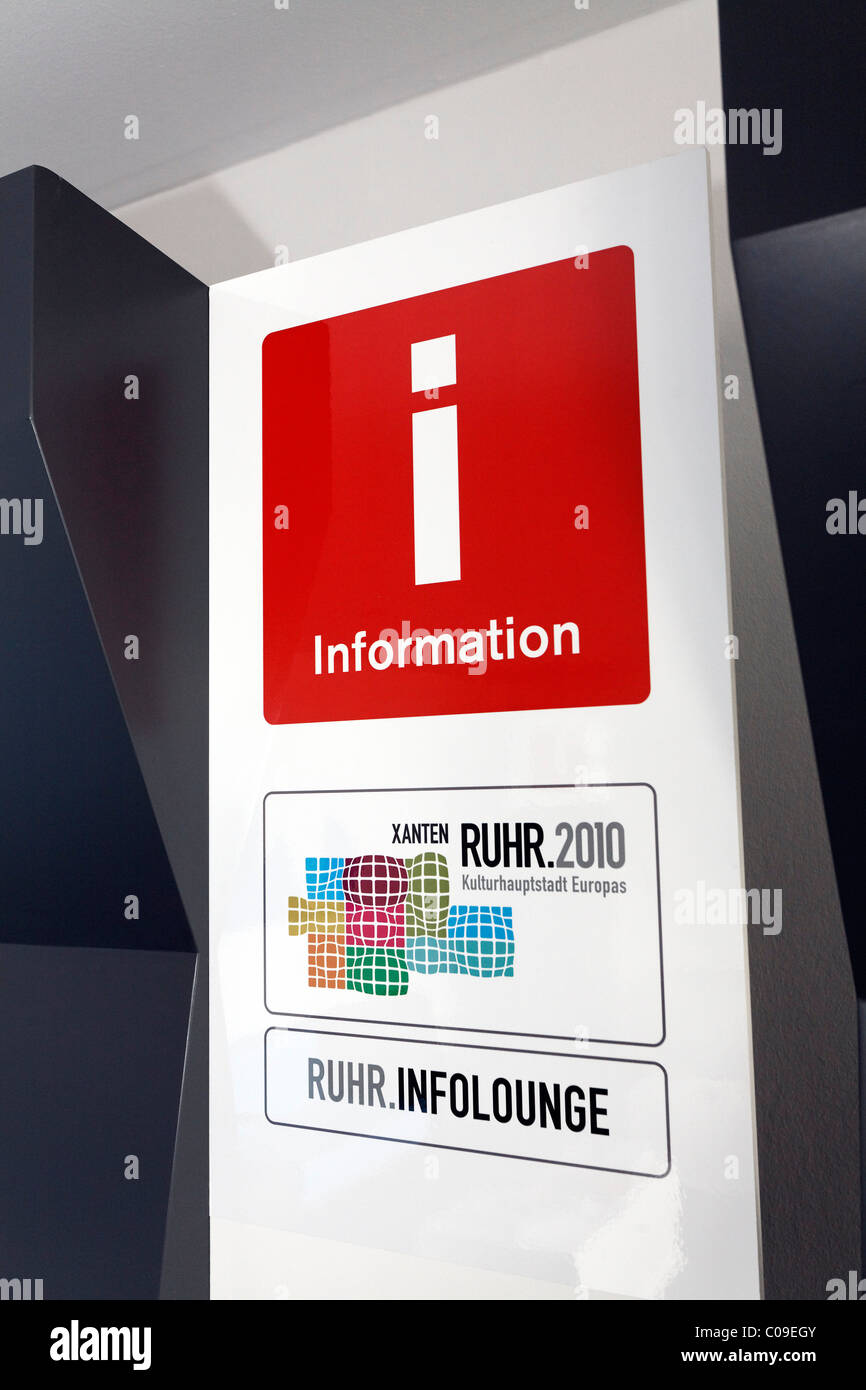 Information, sign and logo of the info lounge Ruhr in 2010, cultural capital of Europe, Xanten, Lower Rhine region - Stock Image
