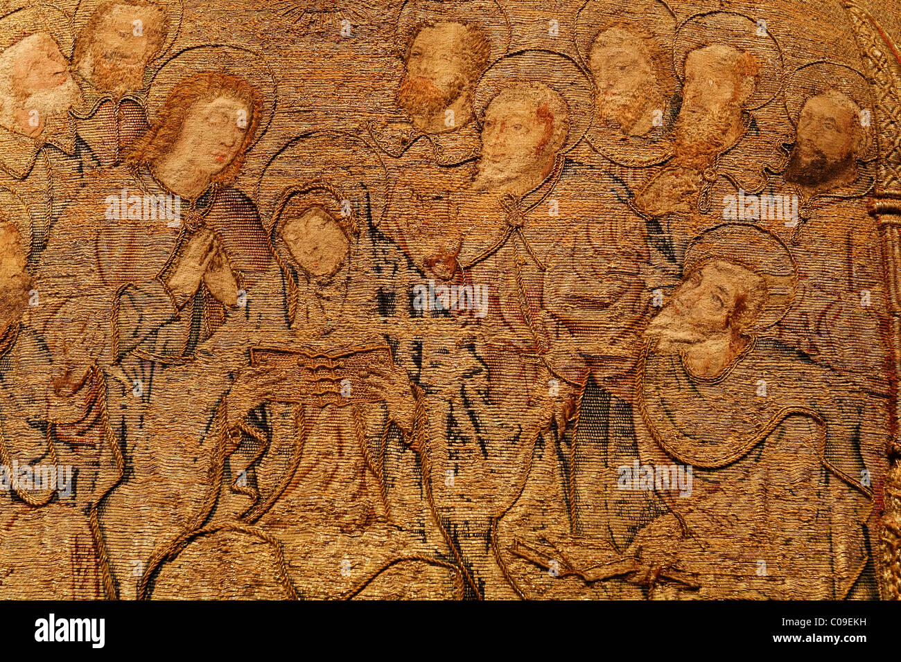 Mary and the apostles with halo, elaborate embroidery on a chasuble, historical liturgical garment, Stiftsmuseum - Stock Image