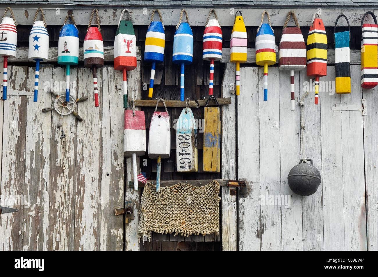 Lobster Buoys on Old Fishing Shack in Rockport, Massachusetts - Stock Image