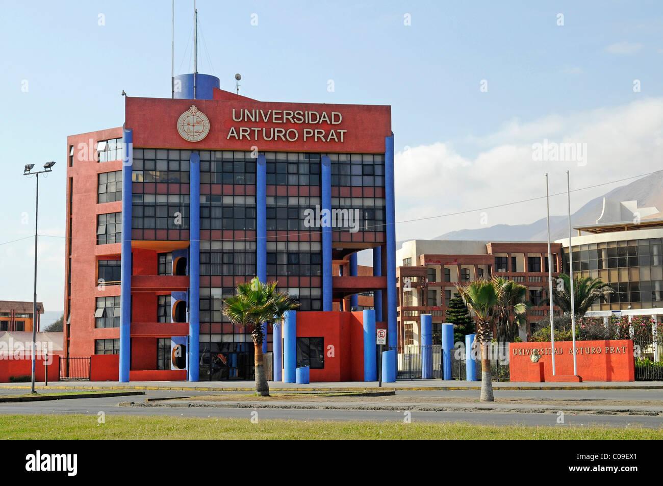 Arturo Prat Chacon University, dedicated to a national hero, waterside promenade, Playa Brava beach, Iquique, Norte Stock Photo
