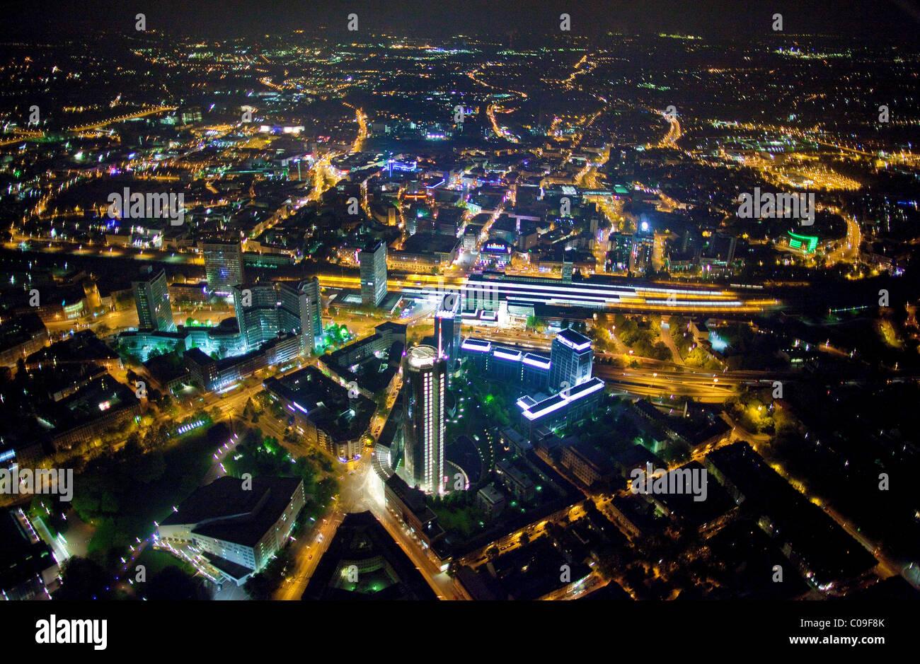 Aerial view, night shot, Saalbau Essen philharmonic hall, Aalto Theater and RWE Tower, Essen, Ruhrgebiet region Stock Photo