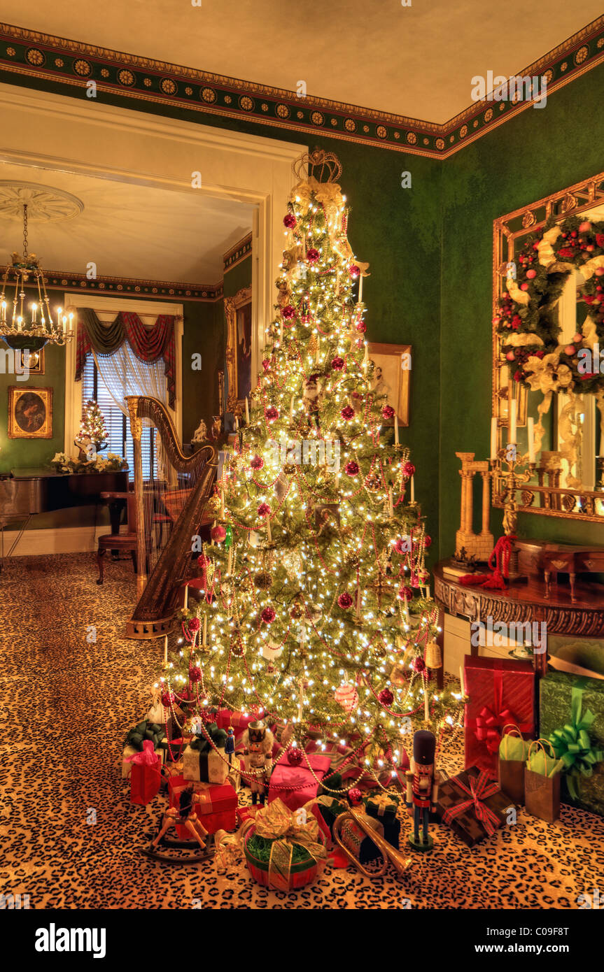 victorian christmas tree in home in new albany indiana stock image