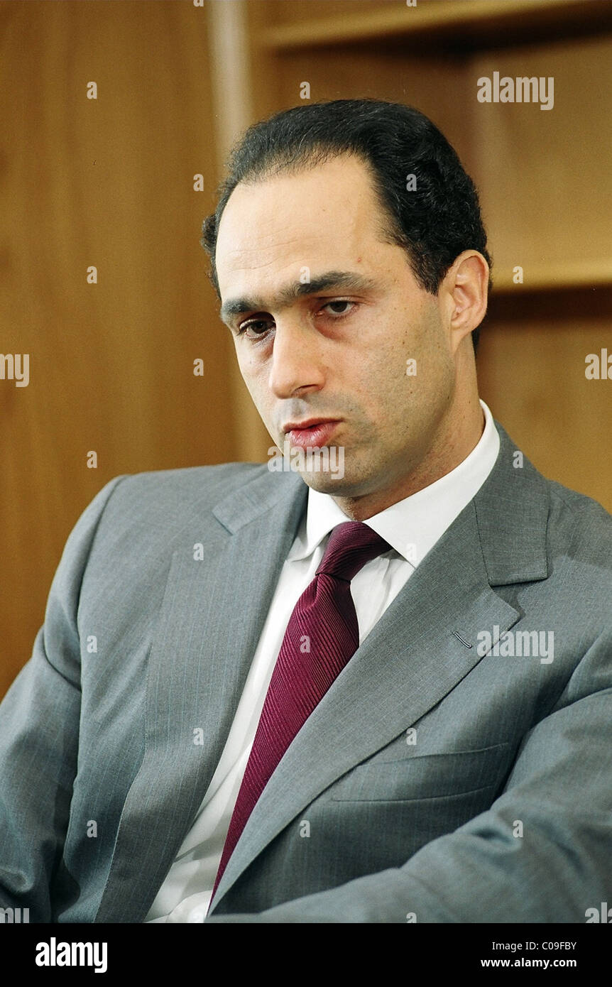 Gamal Mubarak, son of Egypt's President Hosni Mubarak, in an interview in 2003 in Cairo. - Stock Image