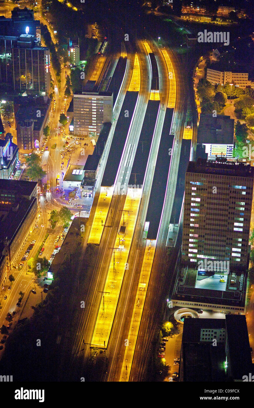 Aerial view, night shot, Essen, Ruhrgebiet region, North Rhine-Westphalia, Germany, Europe - Stock Image