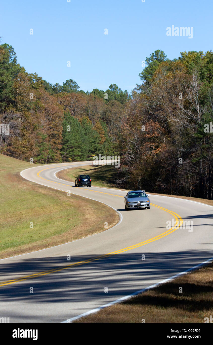 Natchez Trace Parkway operated by the National Park Service commemorates the historic Old Natchez Trace in Mississippi, - Stock Image
