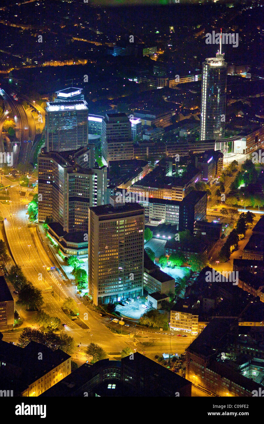 Aerial view, night shot, Evonik Industries, RWE Tower, Essen, Ruhrgebiet region, North Rhine-Westphalia, Germany, - Stock Image