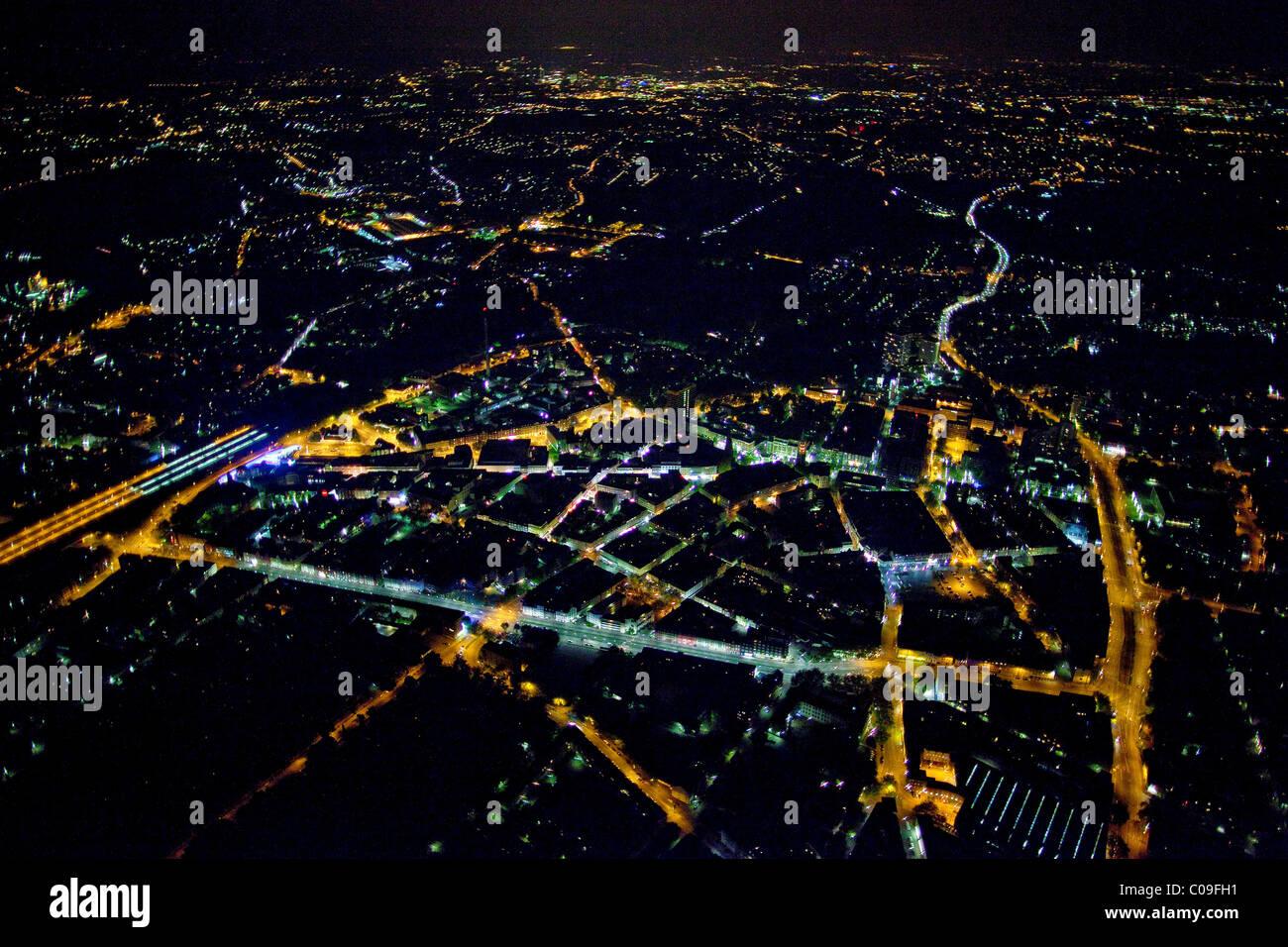 Aerial view, night shot, Gelsenkirchen, Ruhrgebiet region, North Rhine-Westphalia, Germany, Europe - Stock Image