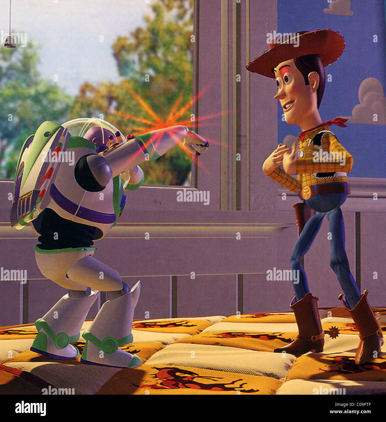TOY STORY  1995 Pixar Animation Studios/ Walt Disney Pictures animation with Buzz Lightyear at left and Woody. - Stock Image
