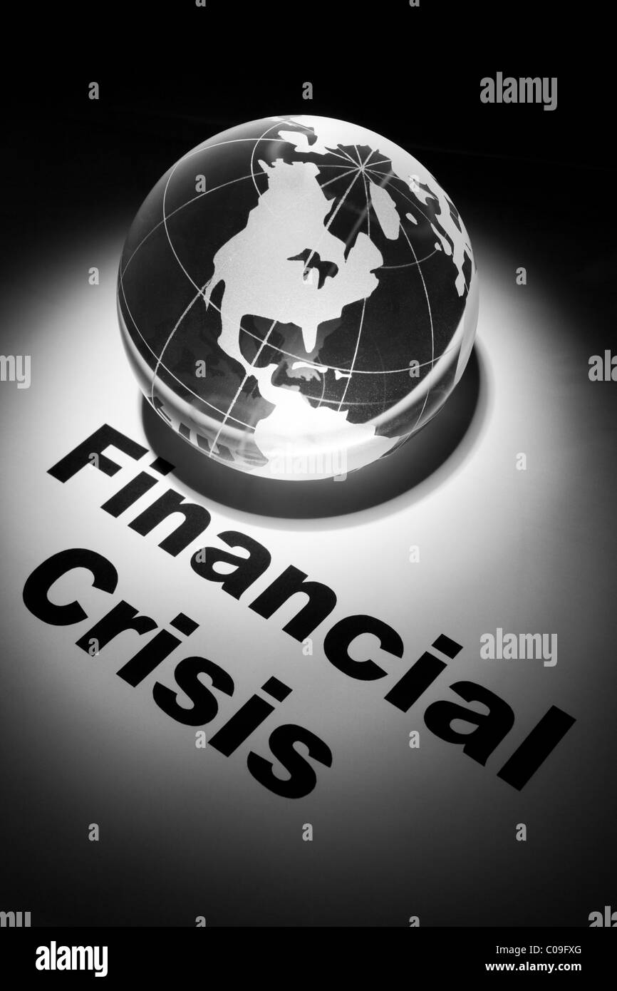 globe, concept of Financial Crisis - Stock Image