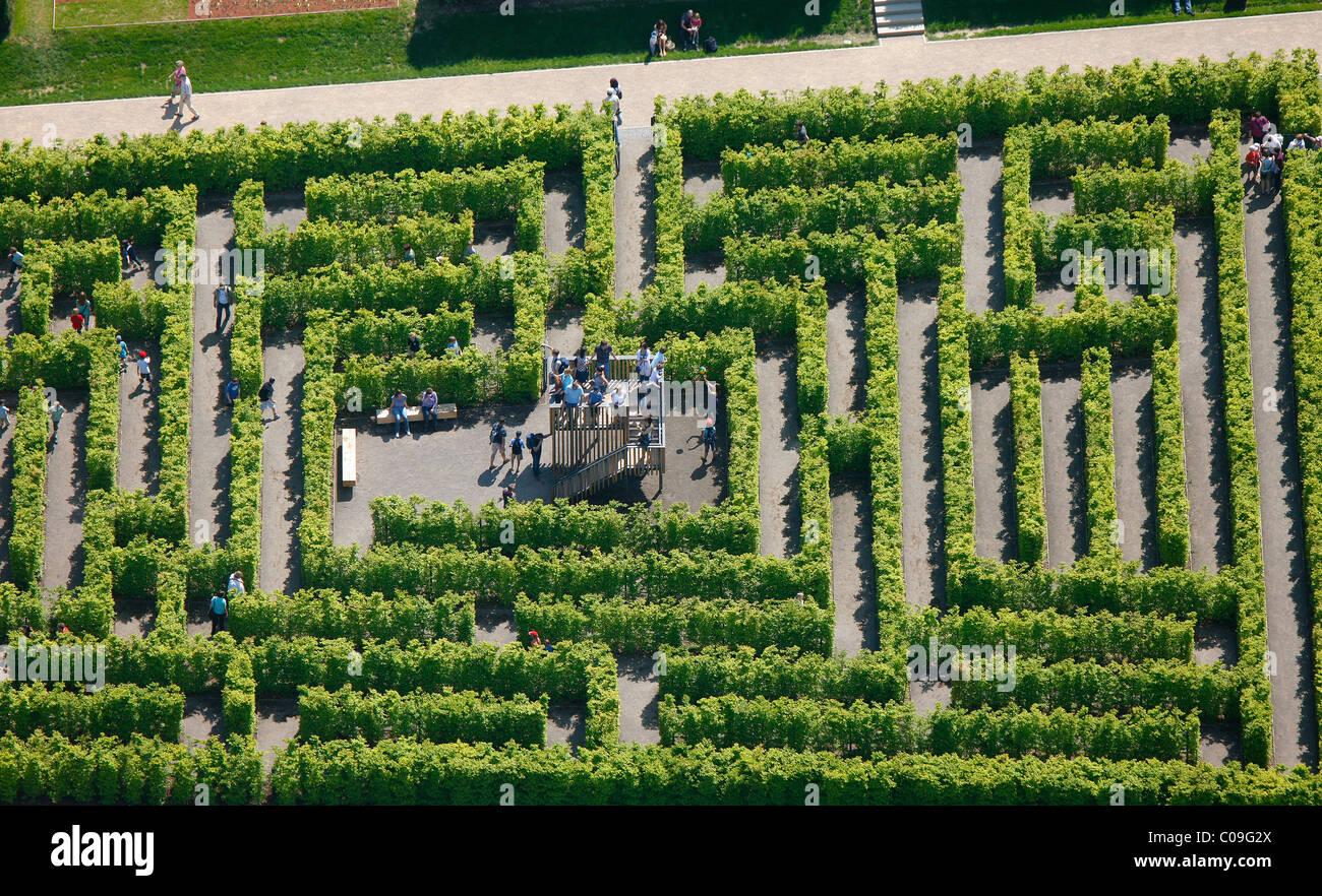 Aerial view, labyrinth, hedge maze, Landesgartenschau Country Garden on