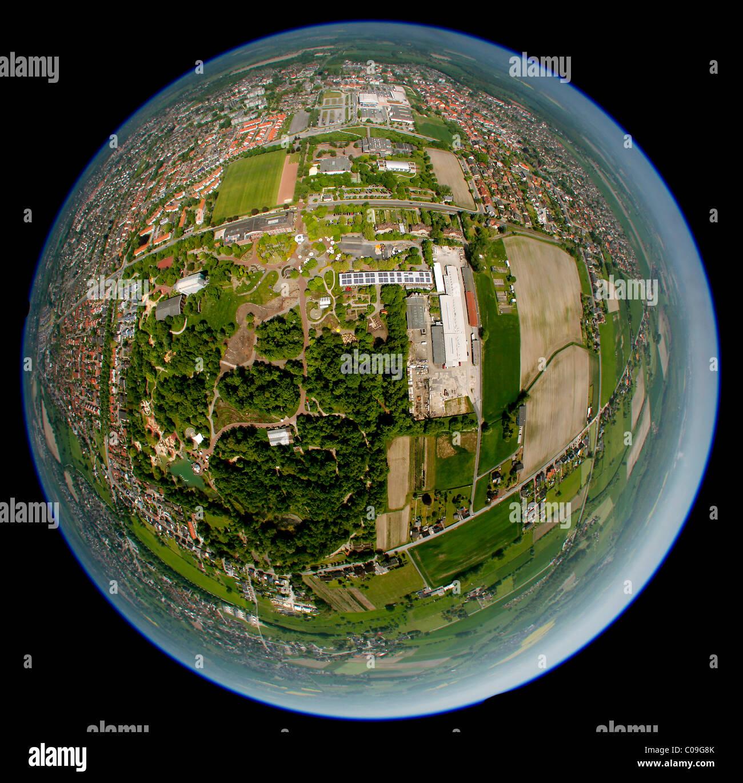 Aerial view, 360 degree panorama, mine Maximilian 1, 2 Maxipark, Schachtzeichen RUHR.2010, Hamm, Ruhrgebiet region - Stock Image